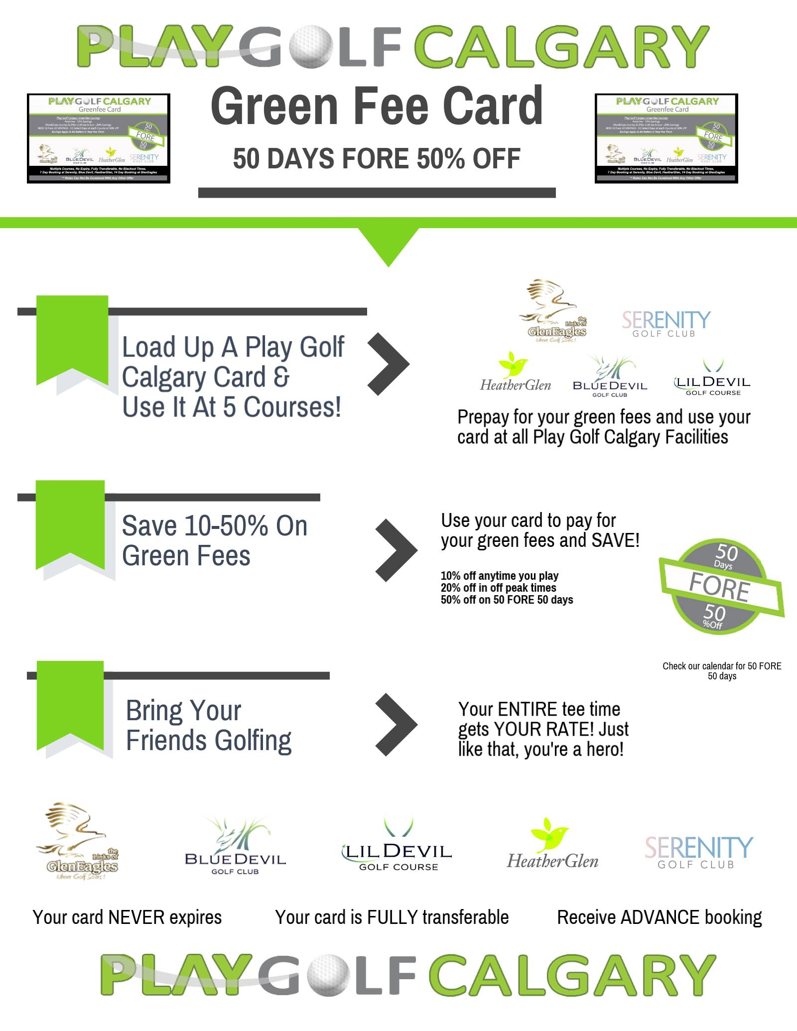 Play Golf Calgary Greenfee Card | Play 3 Golf Courses in